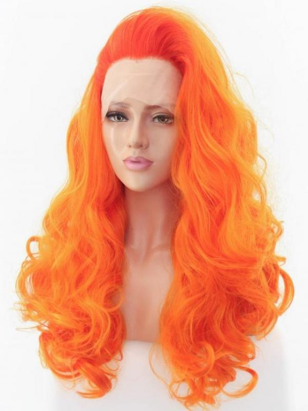 Orange Curly Long Lace Front Synthetic Wig-DQ030