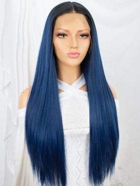BLACK TO BLUE LONG SYNTHETIC LACE FRONT WIG SNY144