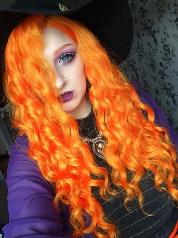 Orange waist length curly Synthetic Lace Wig-SNY010