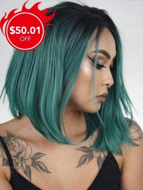 Black to Green Short Bob Lace Front Synthetic Wig SNY087