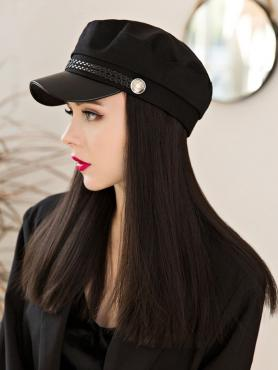 British retro style Hat With Black Synthetic Hair, WIG HAT WB005