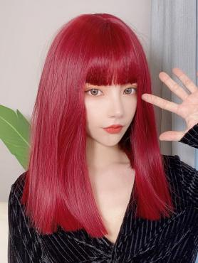 RED MEDIUM STRAIGHT STRAIGHT SYNTHETIC WEFTED CAP WIG LG303