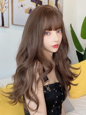BROWN SHOULDER LENGTH WAVY SYNTHETIC WEFTED CAP WIG LG307