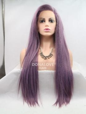 LAVENDER LONG STRAIGHT SYNTHETIC LACE FRONT WIG SNY216