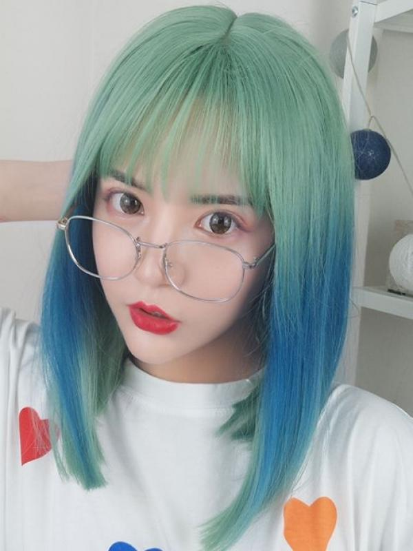 2019 New Teal Blue Synthetic Wefted Cap Wig LG011