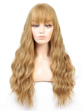 NEW BLONDE LONG WAVY SYNTHETIC WEFTED CAP WIG WW045