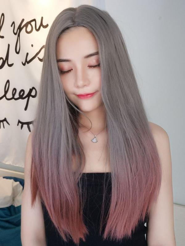 2019 New Hot Silver Ombre Smokey Pink Synthetic Wefted Cap Wig LG010