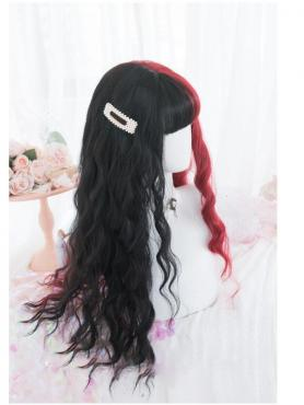 New Lolita Half Black Half Red Synthetic Wefted Cap Wig LG028
