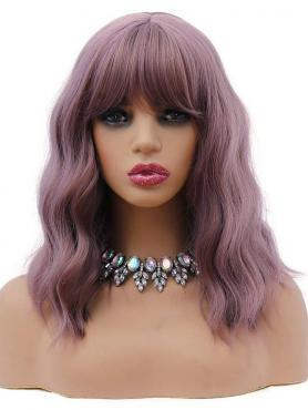 NEW PURPLE WAVY SYNTHETIC WEFTED CAP WIG WW047