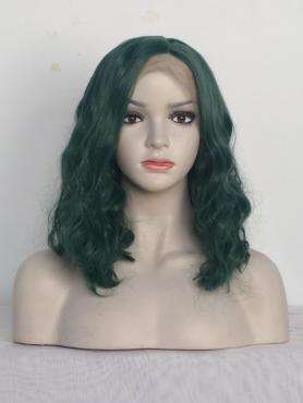 Green Wavy Shoulder Length Synthetic Lace Front Wig-SNY116