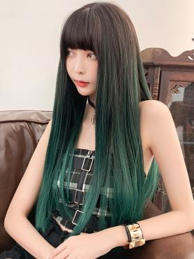 NEW BROWN TO GREEN STRAIGHT SYNTHETIC WEFTED CAP WIG LG050