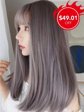 New Gray Pink Straight Synthetic Wefted Cap Wig with Bangs LG007