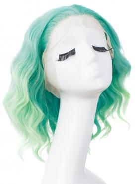Gradient Green Shoulder Length Wavy Bob Lace Front Synthetic Wig SNY133