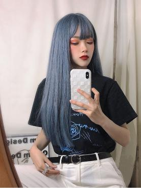 GRADIENT HAZE BLUE LONG STRAIGHT SYNTHETIC WEFTED CAP WIG LG160