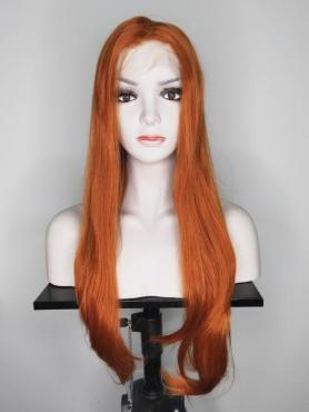 Orange Long Straight Synthetic Lace Front Wig SNY126