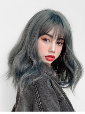 HAZE BLUE WAVY SYNTHETIC WEFTED CAP WIG LG082