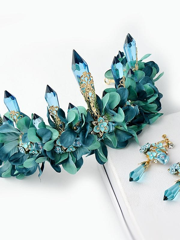 Blue Crystal Floral Crown A004
