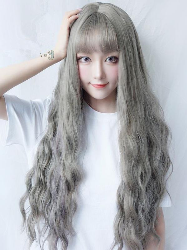 2019 New Grayish Wavy Synthetic Wefted Cap Wig LG003