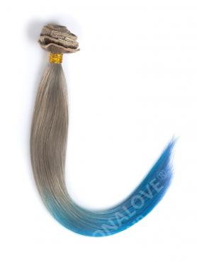 Light Ash Brown to Blue Colorful Clip In Hair Extensions CD017