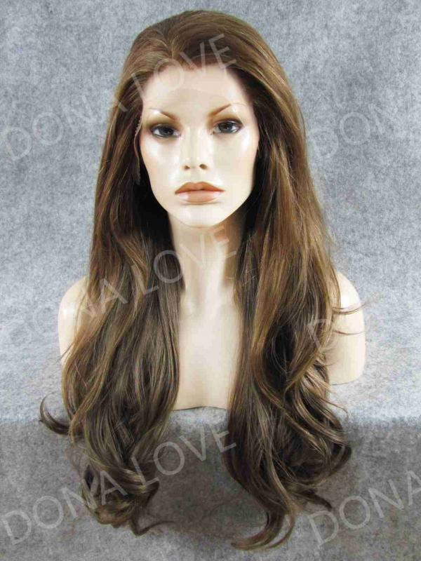 Brown color Waist-length Wavy Synthetic Lace Wig-SNY052