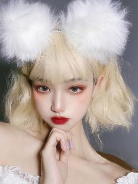 CREAM BLONDE SHORT WAVY SYNTHETIC WEFTED CAP WIG LG297