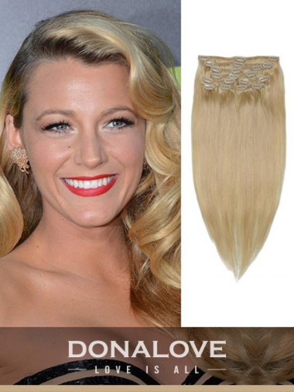 Light Ash Blonde indian remy clip in hair extensions SD014