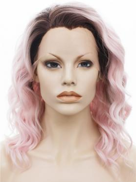 Black to Pink Shoulder Length Wavy Bob Lace Front Synthetic Wig SNY132