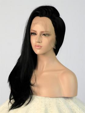 Jet Black Straight Long Lace Front Synthetic Wig-DQ004