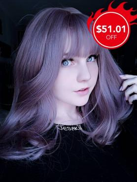 New Dreamy Lilac Synthetic Wefted Cap Wig LG008