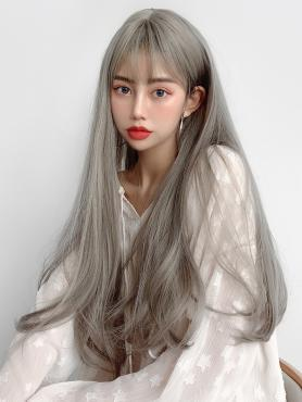 SMOKE GRAY STRAIGHT SYNTHETIC WEFTED CAP WIG LG083