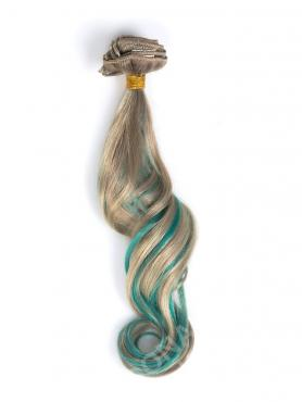 Ash Blonde with Green Highlight Clip In Hair Extensions CD020