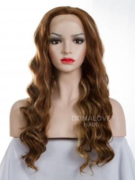Mixed color mid back length Wavy Synthetic Lace Wig-SNY034