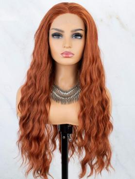 COPPER CURLY LONG SYNTHETIC LACE FRONT WIG SNY179