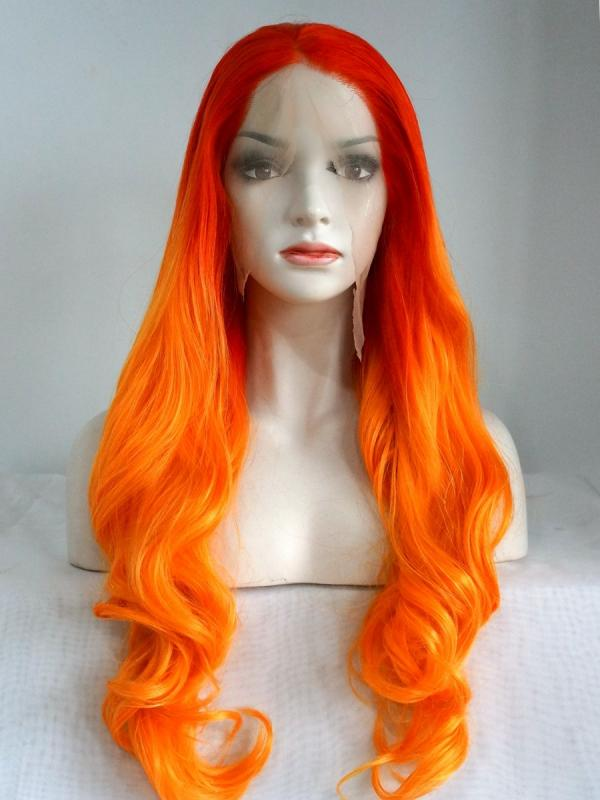 Red to Orange Long Wavy Synthetic Lace Front Wig SNY121