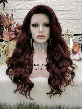 BROWN LONG WAVY SYNTHETIC LACE FRONT WIG SNY317