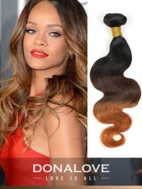 Two colors ombre indian remy clip in hair extensions OD006
