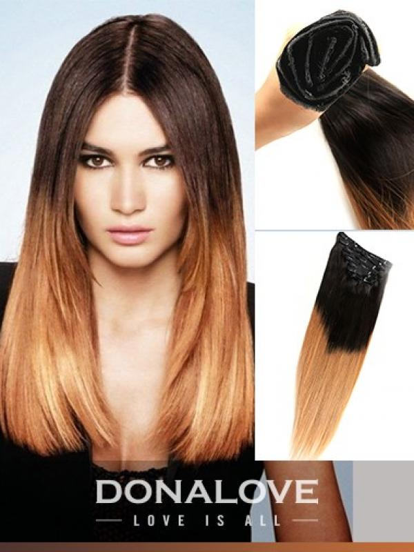 Two Colors Ombre Indian Remy Clip In Hair Extensions Od001 Clip