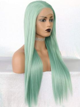 LIGHT GREEN LONG STRAIGHT SYNTHETIC LACE FRONT WIG SNY195