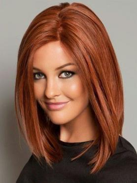 Pretty Orange to Red bob Lace Front Human Hair Wig HH005