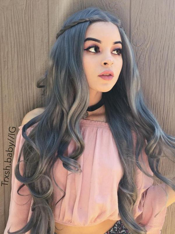 Dark Gray Long Wavy Synthetic Lace Front Wig SNY090