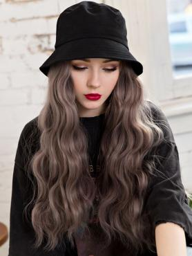 Black Bucket Hat With peachy grayish Synthetic Hair, Black Straight, WIG HAT WB006