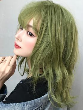 New Matcha Green Synthetic Wefted Cap Wig with Bangs LG042