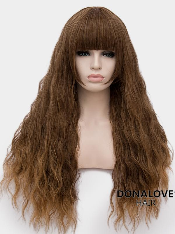 Brown Long Wavy Synthetic Wefted Cap Wig WW007