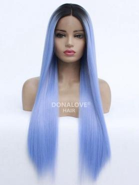 BLUE OMBRE LONG STRAIGHT SYNTHETIC LACE FRONT WIG SNY214