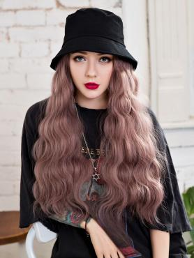 Black Bucket Hat With Synthetic Hair, wig hat WB004