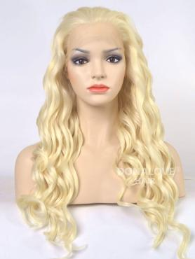 Light Blonde Shade Waist-length wavy Synthetic Lace Front Wig-SNY002