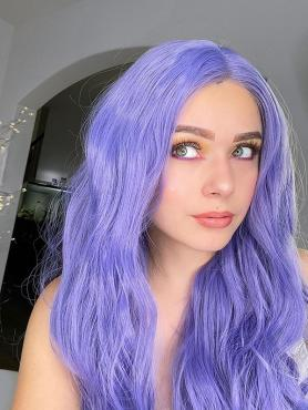 LAVENDER LONG CURLY LONG SYNTHETIC LACE FRONT WIG SNY004