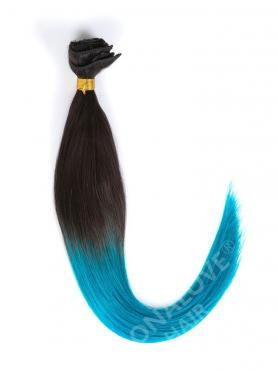 Black to Blue Shade Color Coloful Ombre Clip In Hair Extensions CD015