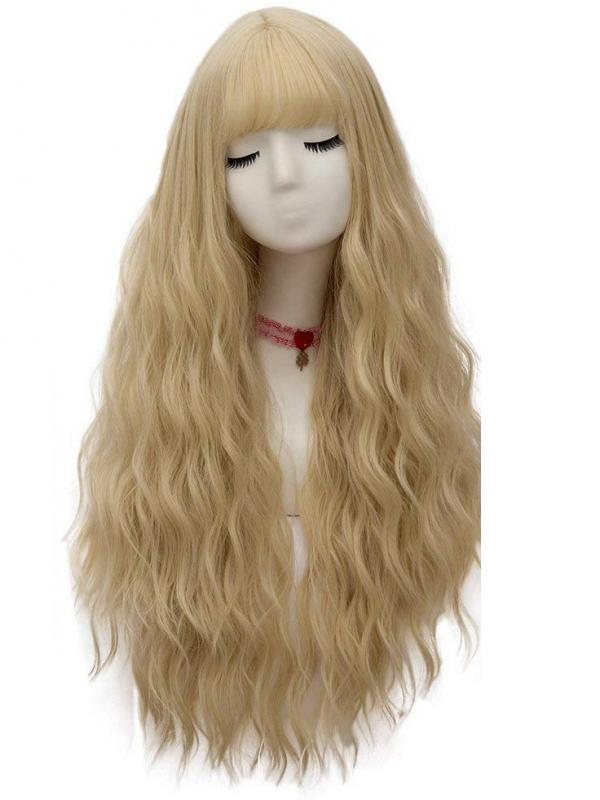 Blonde Long Wavy Synthetic Wefted Cap Wig WW013