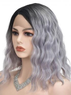 BLACK TO GREY SHOULDER LENGTH CURLY LACE FRONT SYNTHETIC WIG SNY117